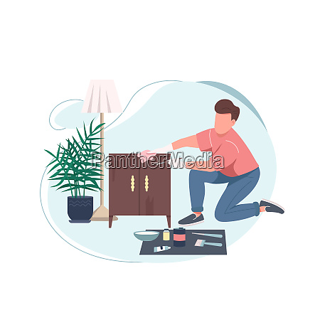 handyman flat color vector faceless character