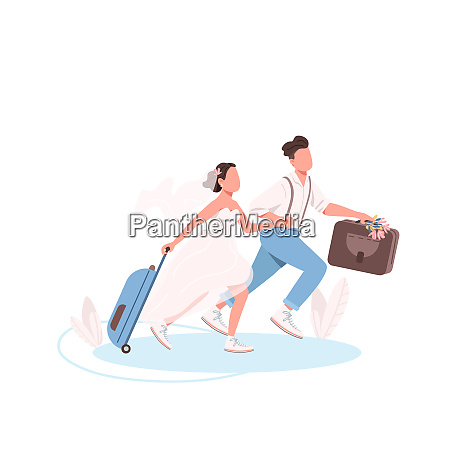 just married couple with suitcases flat