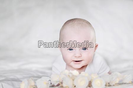 caucasian smiling infant