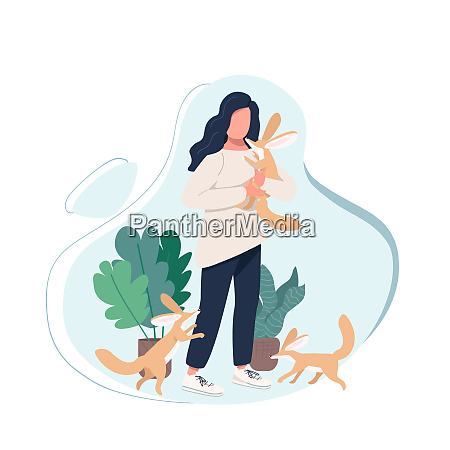 exotic pet owner flat color vector