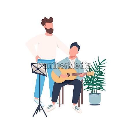 guitar lesson flat color vector faceless