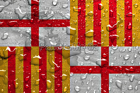 flag of barcelona with rain drops