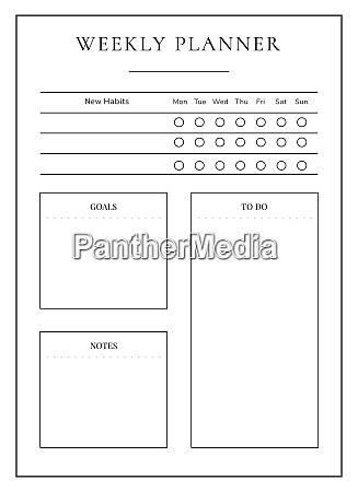 weekly planner minimalist planner page design