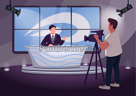 news production flat color vector illustration