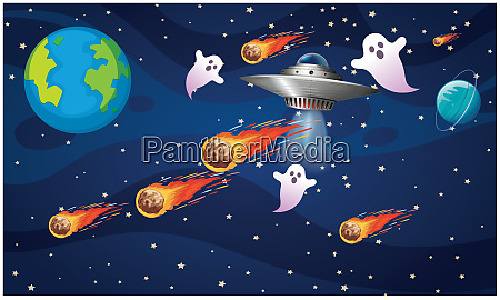spaceship travel between planets in asteroids