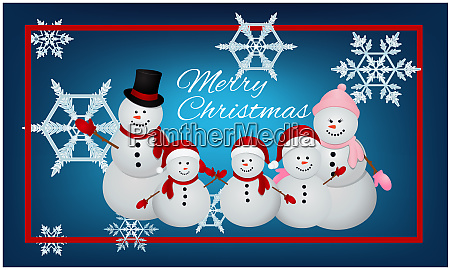 complete family of snowman in christmas