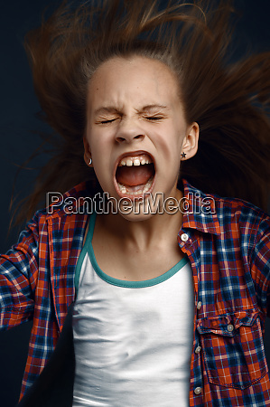 little girl shouting in studio developing