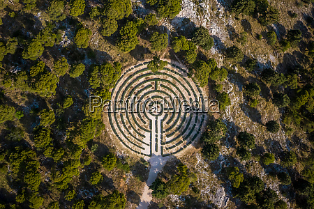 aerial view of a labyrinth shaped