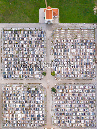 aerial view of graves in a