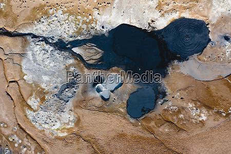 aerial view of hverir geothermal area