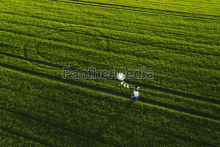 aerial view of woman walking in