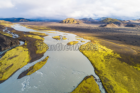 aerial view of river tungnaa between