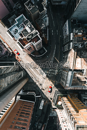 aerial view of soho district in