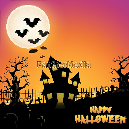 halloween haunted castle with bats and