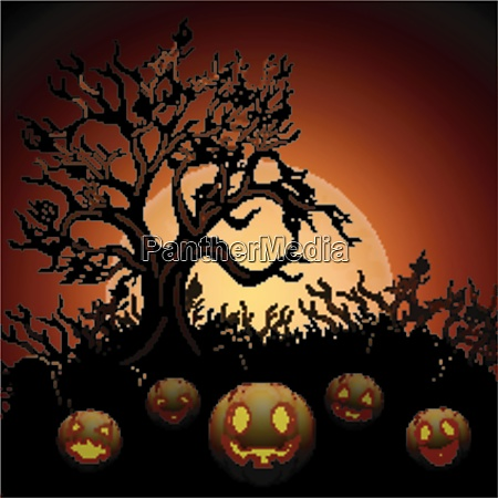 halloween background with dry tree and