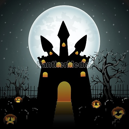creepy dark castle with pumpkins in