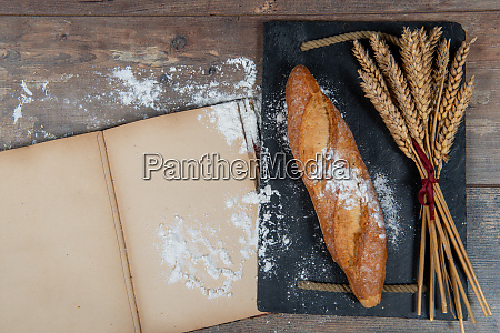 baguette or french bread and some