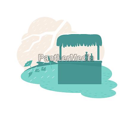 rain natural disaster 2d vector web