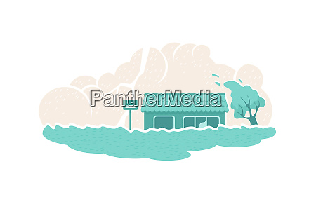 flood natural disaster 2d vector web