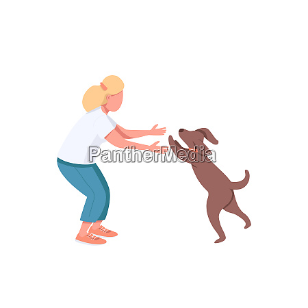 woman play with dog flat color
