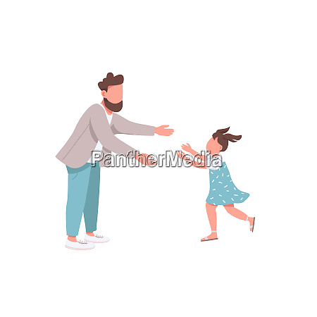 father with daughter flat color vector