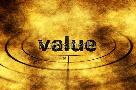 value grunge target concept