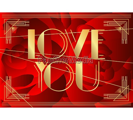 art deco love you text