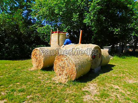 a straw bale tractor