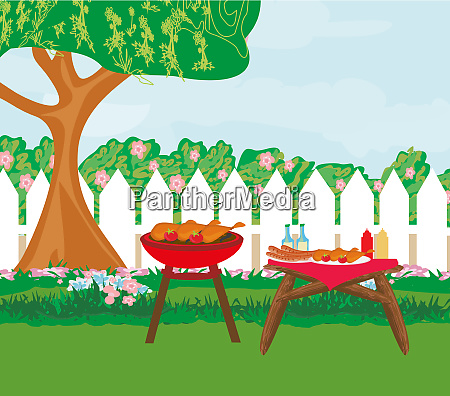 illustration of backyard barbecue