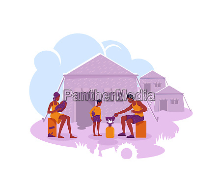 refugee camp 2d vector web banner