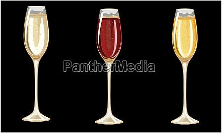 different champagne glasses on dark background