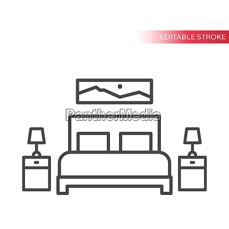bedroom furniture home interior thin line