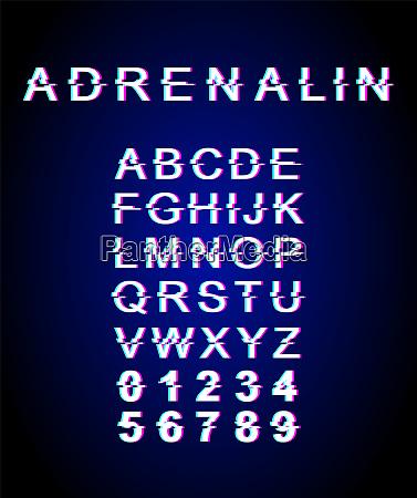 adrenaline glitch font template
