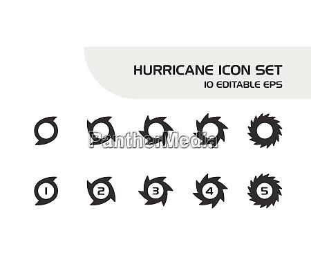 hurricane categories intensity rates icon set
