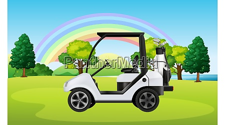 golf cart parked in a ground