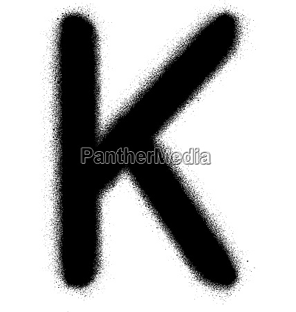 sprayed k font graffiti in black
