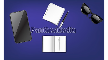 office accessory with smartphone on abstract