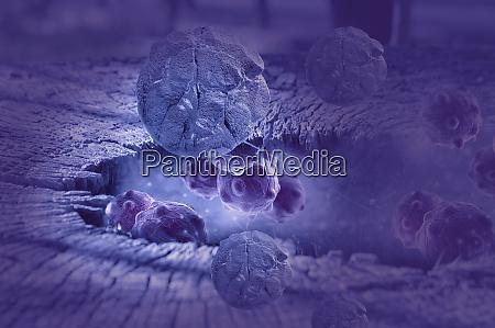 digital illustration of cancer cells