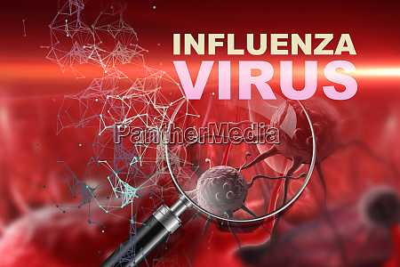 illustration of influenza virus cells