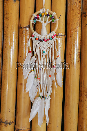 white dreamcatcher indian amulet that