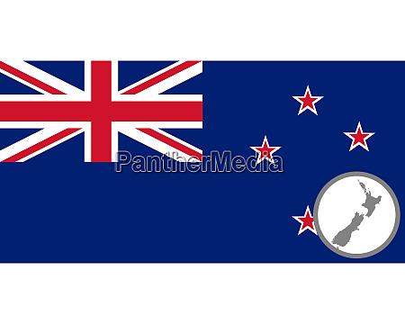 fahne und landkarte von neuseeland