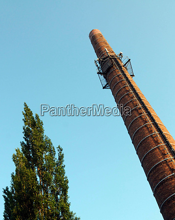 factory chimney with sky background