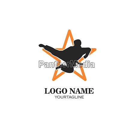 karate taekwondo kick logo vector illustration
