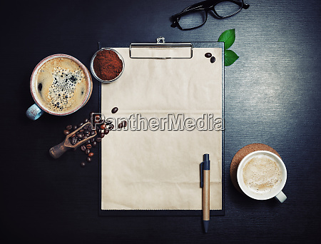 clipboard and coffee