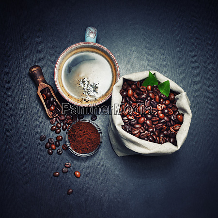 coffee beans cup ground powder
