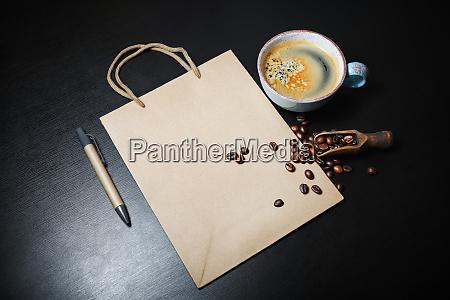 kraft paper bag coffee pen