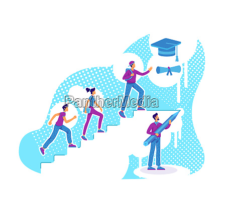 students teaching flat concept vector illustration