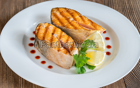 grilled steaks of arctic char