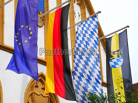 amberg bavaria town hall flags flags