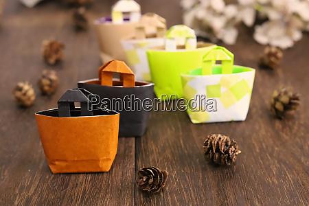 miniature eco bags made of origami